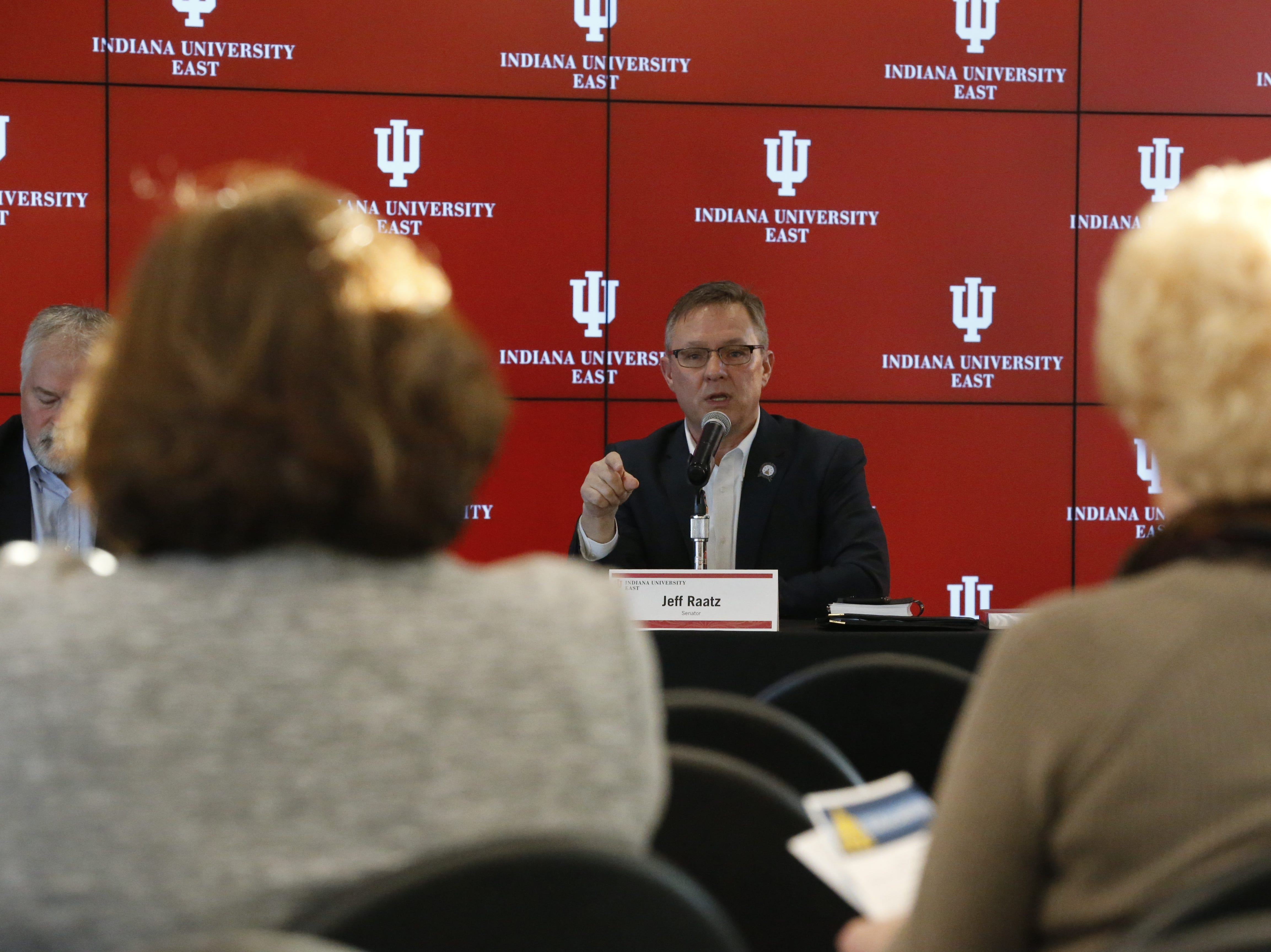 State Sen. Jeff Raatz answers a question from the audience during the Legislative Forum on Friday, Jan. 25, 2019, at IU East.