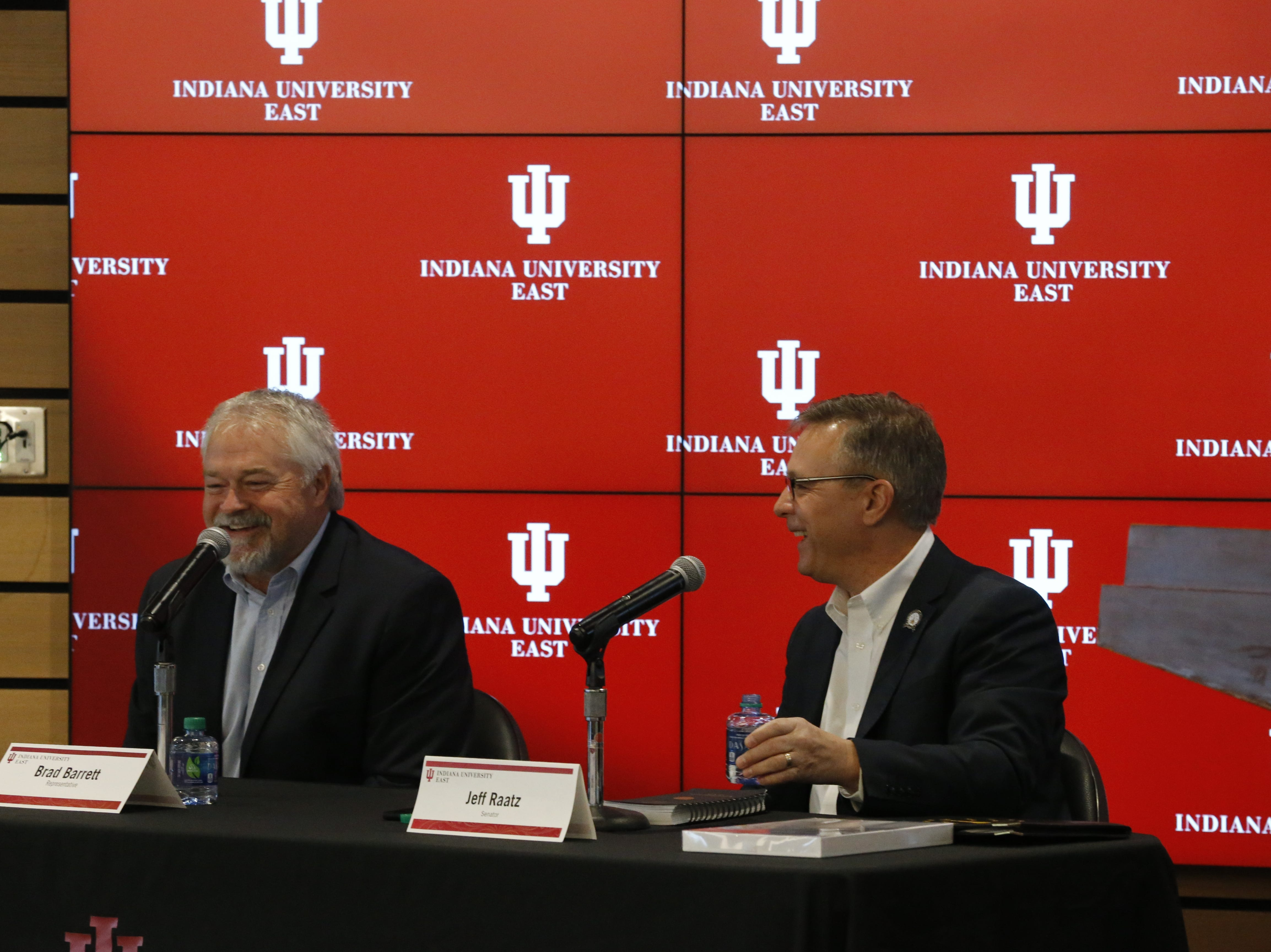 Indiana University East hosted the first of three planned Legislative Forums on Friday, Jan. 25, 2019, in the lobby of Whitewater Hall. State Sen. Jeff Raatz and State Rep. Brad Barrett were on hand.