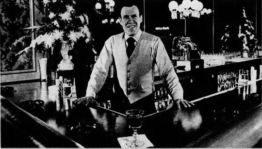 Jack Grey, the bartender who knew everyone's names, seen here in a 1972 article.