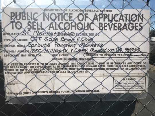 Sprouts Farmers Market has applied for a license to sell beer and wine at its new Redding store.