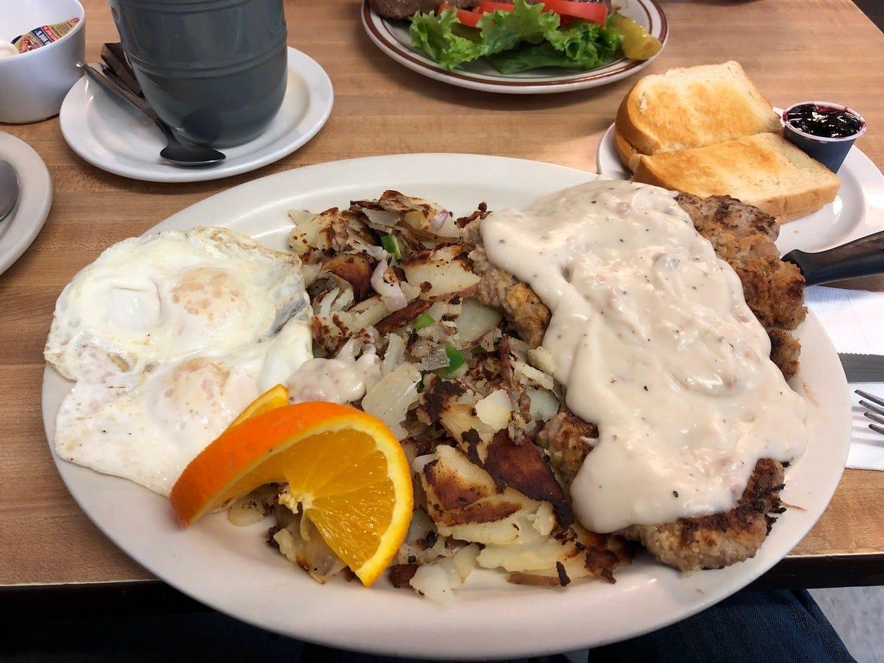 The popular chicken fried steak and eggs at Rita's Kitchen.