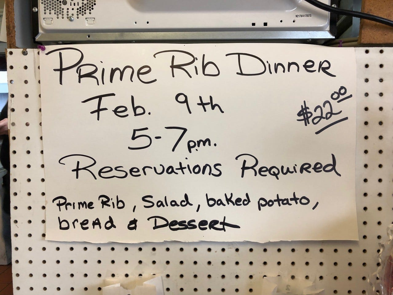 A sign promoting one of the special dinners at Rita's Kitchen in east Redding.