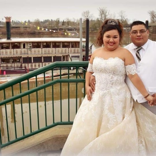 Reyna Cruz, 25, and Romeo Cruz, 31, both of Salem,  were exchanging wedding vows aboard the Willamette Queen when the riverboat's port side rammed into the pile of rocks protecting the support beams under the Union Street Railroad Bridge on Saturday, Jan. 19, 2019.