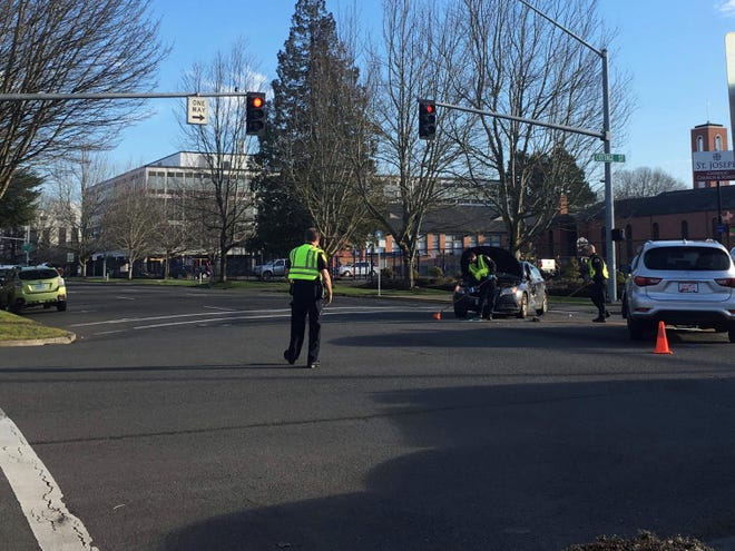 A car wreck at the intersection of Center and Cottage streets NE in Salem on Jan. 25, 2019.