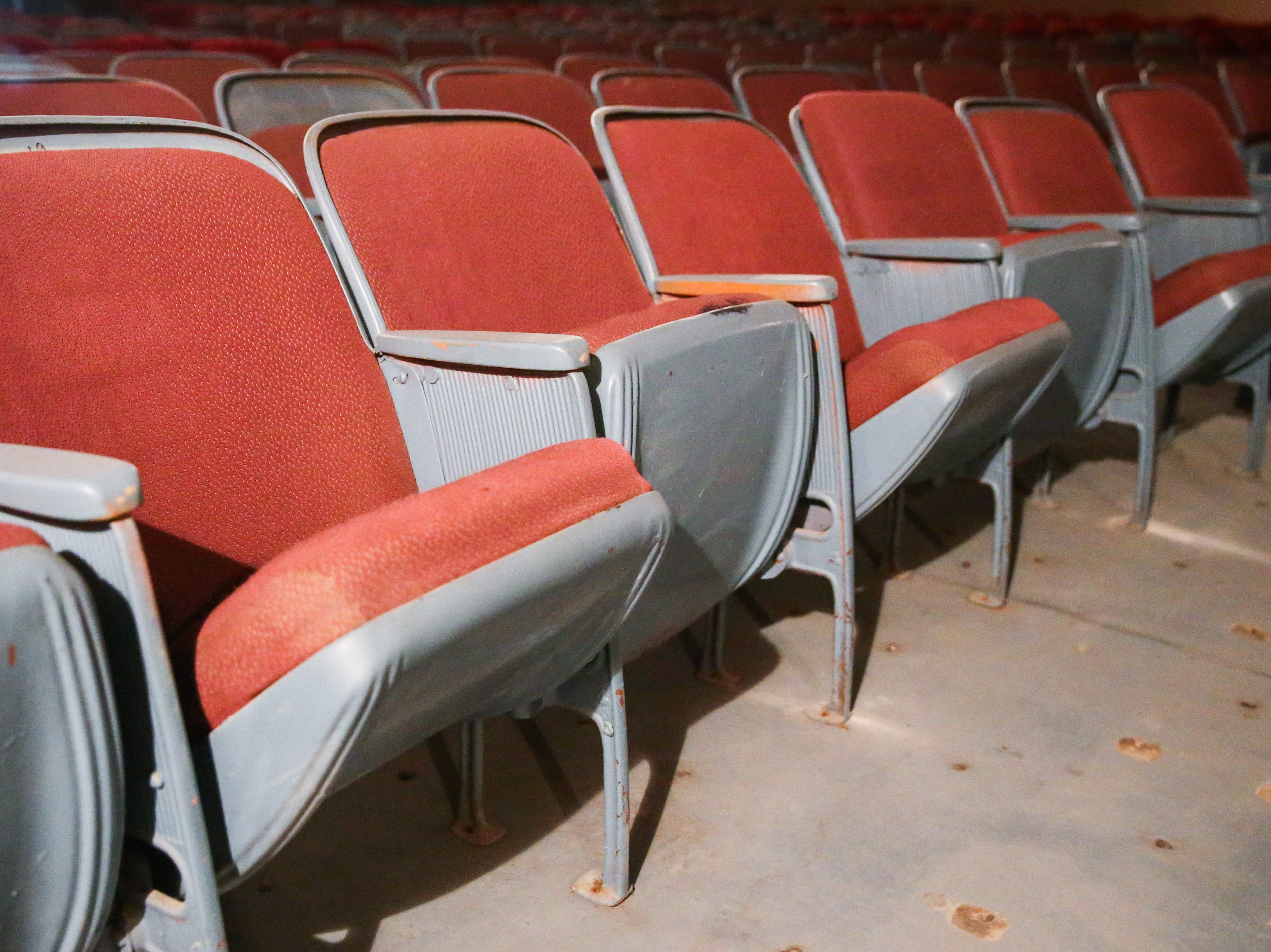 Rows of chairs in the auditorium of the former Texas Theatre in downtown San Angelo. The building on West Twohig has been unused since 2015.