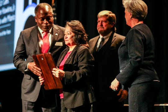Ronnie and Maria Hawkins receive the Citizen of the Year award during the San Angelo Chamber of Commerce Annual Banquet Thursday, Jan. 24, 2019, at McNease Convention Center.