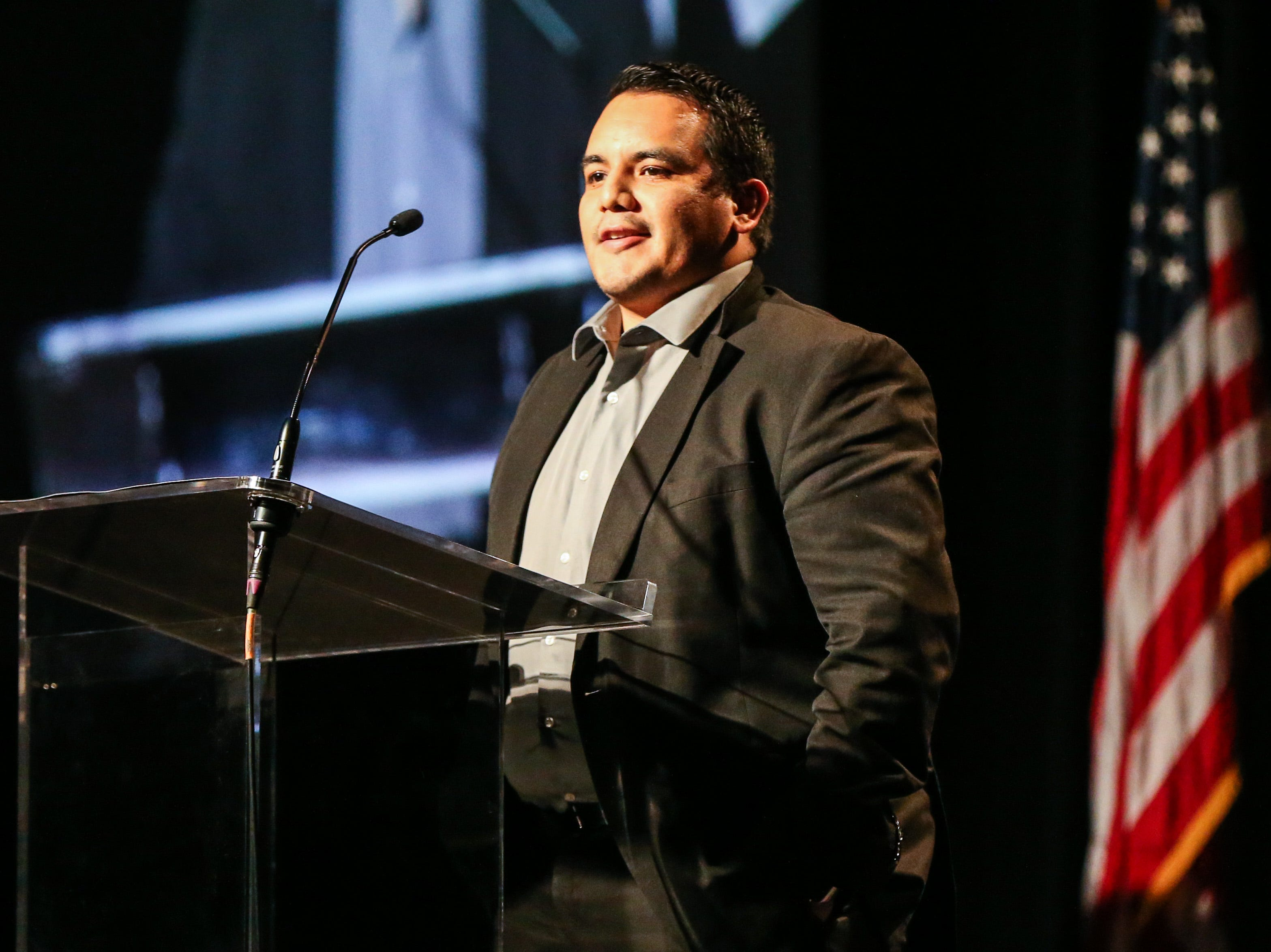 Rosendo Ramos talks as he accepts the Special Recognition Award for the Lake  Lake View Mariachi Band during the San Angelo Chamber of Commerce Annual Banquet Thursday, Jan. 24, 2019, at McNease Convention Center.