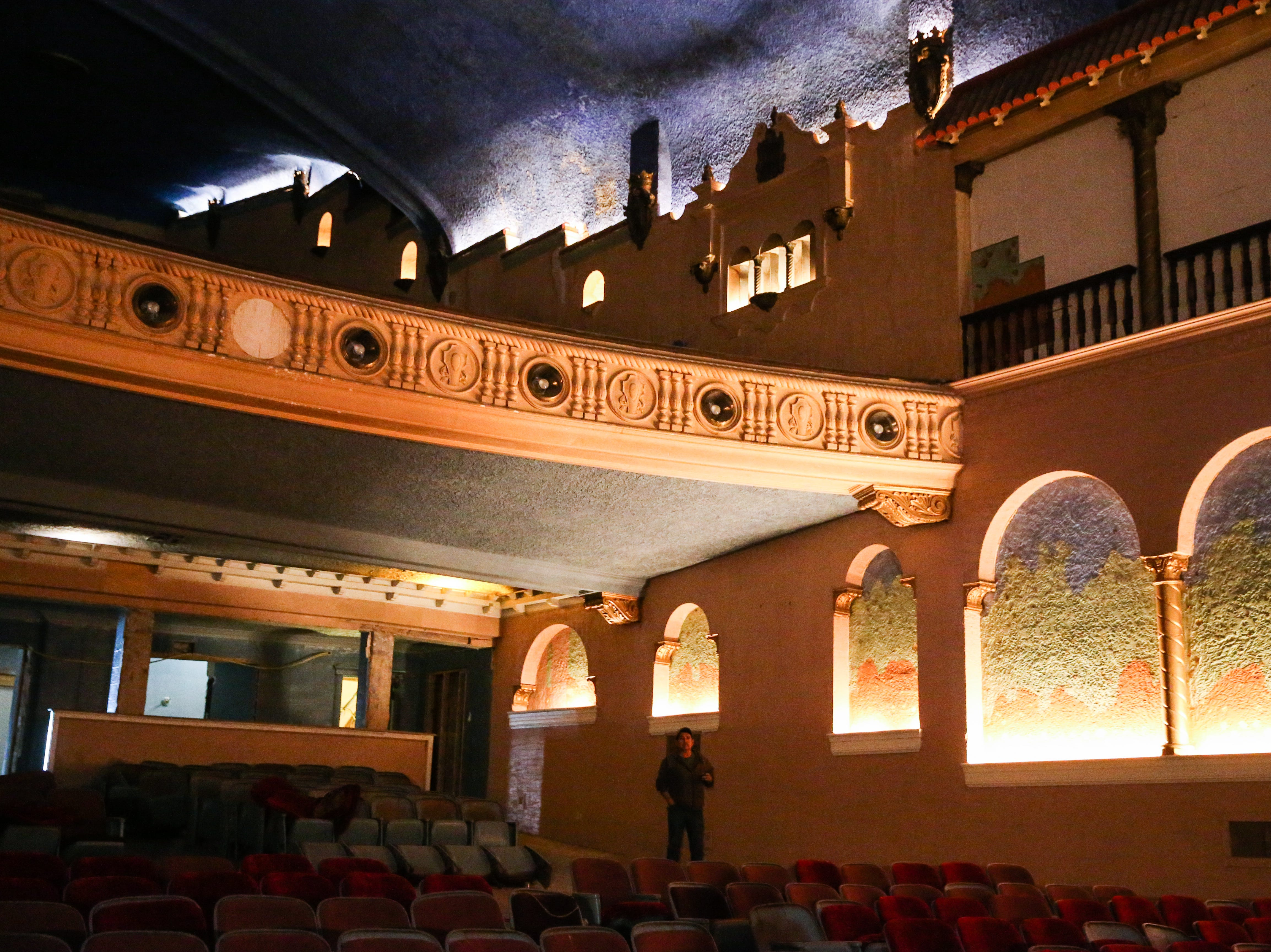 The auditorium inside the former Texas Theatre pulled inspiration from Spain architecture. Lee Pfluger purchased the building in 1998 and it has been unused since 2015.