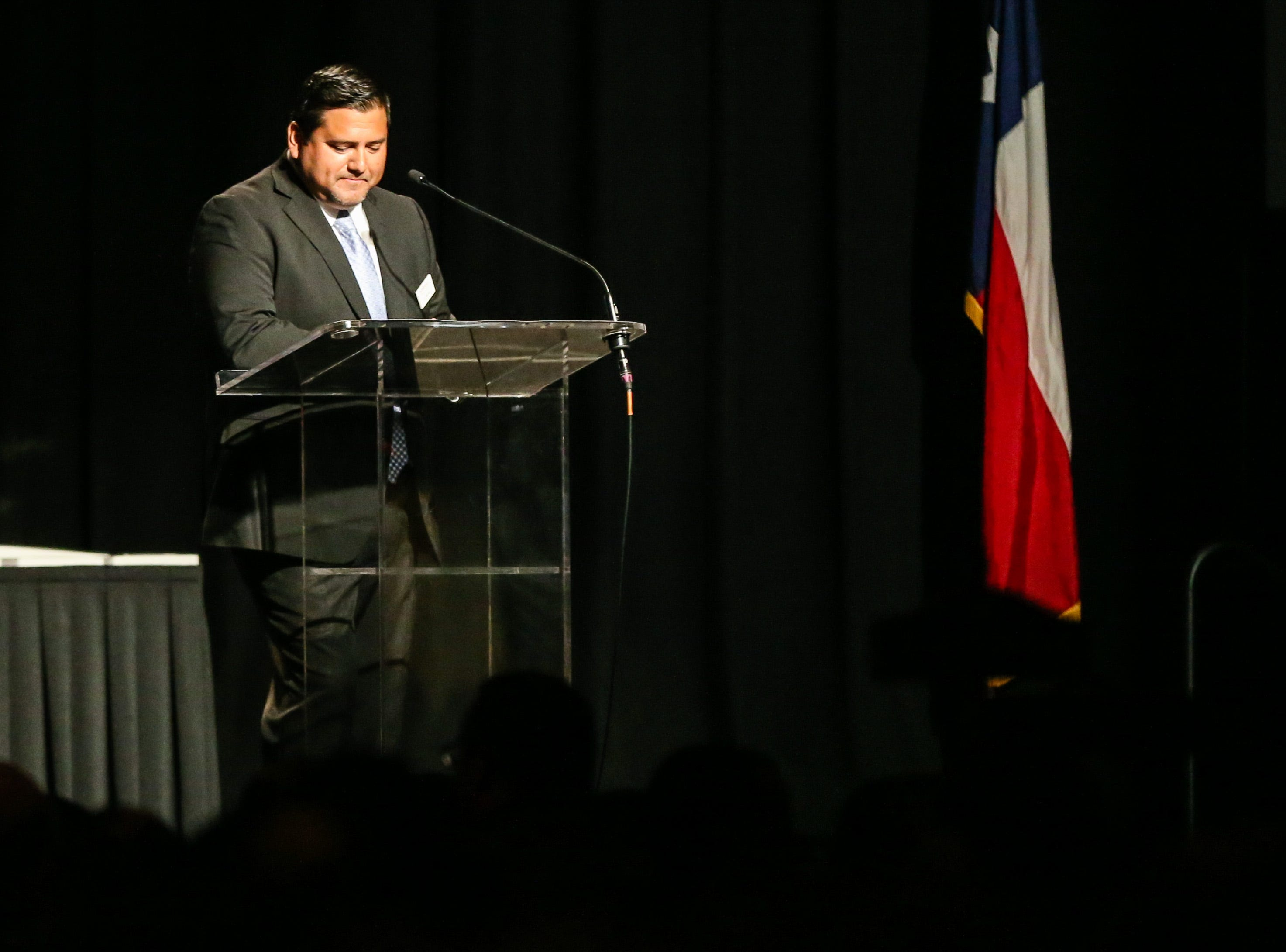 2018 Chairman CJ Muniz talks about an award recipient  during the San Angelo Chamber of Commerce Annual Banquet Thursday, Jan. 24, 2019, at McNease Convention Center.
