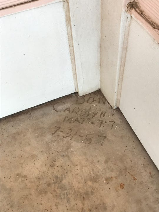 "The original owners of the ""Pink House,"" 3224 College Hills Blvd., left their mark in this photo taken on Friday, Jan. 25, 2019. Don and Carolyn Maynard engraved Matt 7:7, referencing a bible quote. The quote is ""Ask, and it shall be given you; seek, and ye. shall find; knock, and it shall be opened unto you."""