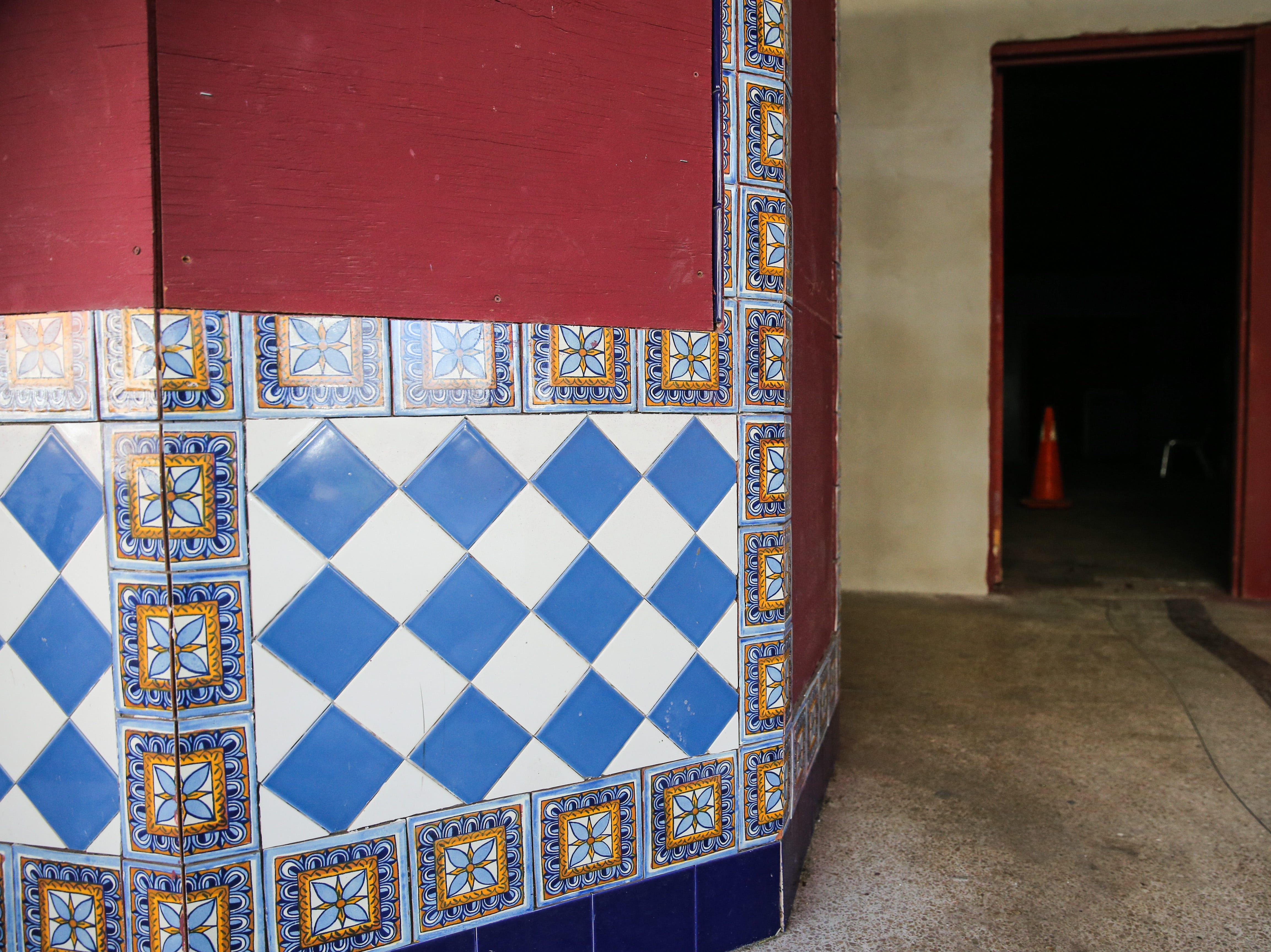 Tile adorns the box office at the entrance of the former Texas Theatre. The building was built in 1929.