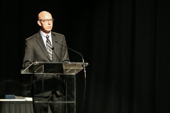 Bruce Partain, San Angelo Chamber of Commerce president / CEO, gives his remarks during the Annual Banquet Thursday, Jan. 24, 2019, at McNease Convention Center.