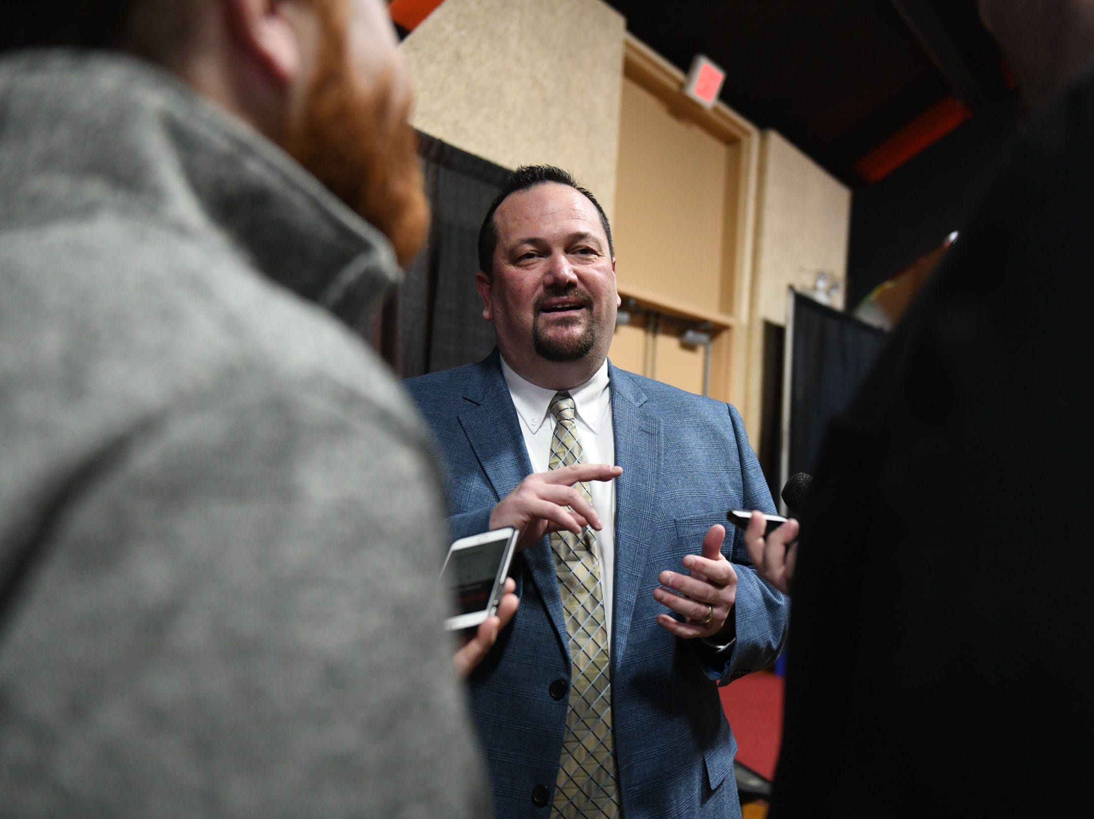 Chris Bitters, General Manager Delmarva Shorebirds, talks to the media during the 18th annual Hot Stove Banquet on Thursday, Jan 24, 2019 at the Wicomico Youth & Civic Center.