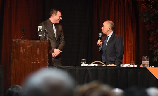 Tim Kurkjian, Major League Baseball analyst on ESPN's Baseball Tonight, speaks during the Delmarva Shorebirds 18th annual Hot Stove Banquet on Thursday, Jan 24, 2019 at the Wicomico Youth & Civic Center.