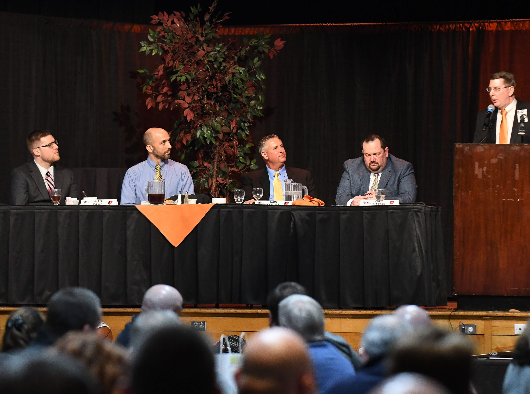 Kent Qualls, Orioles Director of Minor League Operations, speaks during the 18th annual Hot Stove Banquet on Thursday, Jan 24, 2019 at the Wicomico Youth & Civic Center.