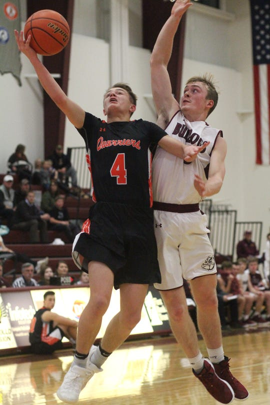 Dell Rapids' Colin Rentz shoots against Madison's Nic Comes in Madison on Jan. 17, 2019.