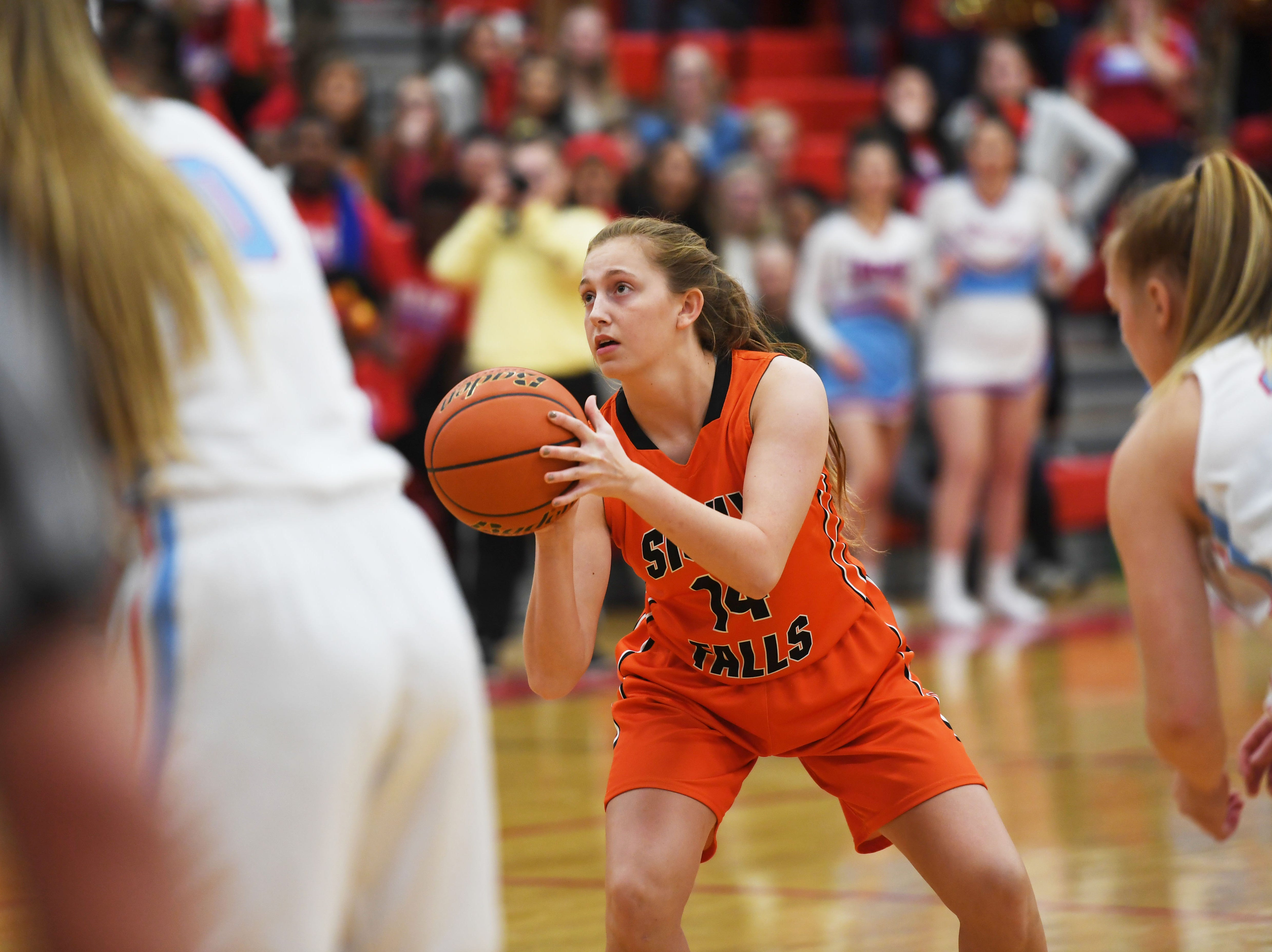 Washington's Rylyn Fink shoots a free throw during the game against Lincoln Thursday, Jan. 24, at Lincoln. Lincoln won 63-62 against Washington.