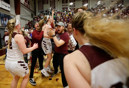 Strafford celebrates their record setting win against Republic at Strafford High School on Thursday, Jan. 24, 2019.