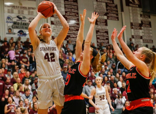 Hayley Frank, of Strafford, shoots the ball during the Indians game against Republic at Strafford High School on Thursday, Jan. 24, 2019.