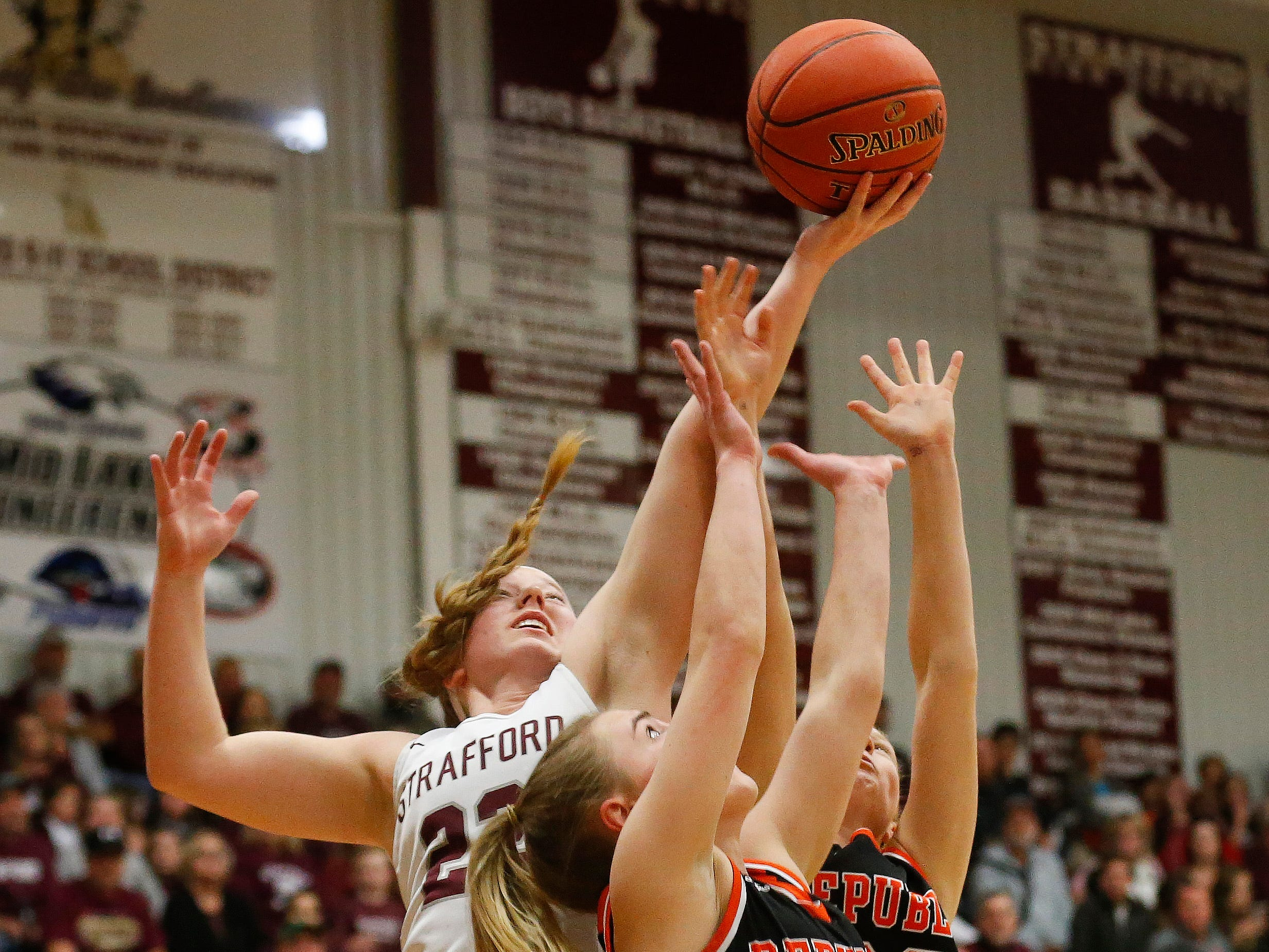 Kayley Frank, of Strafford, gets the rebound during the Indians game against Republic at Strafford High School on Thursday, Jan. 24, 2019.