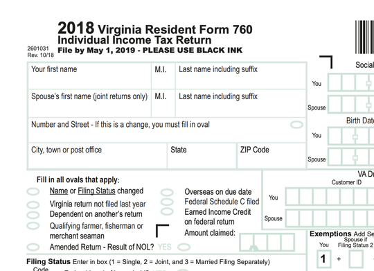 Virginia income tax form