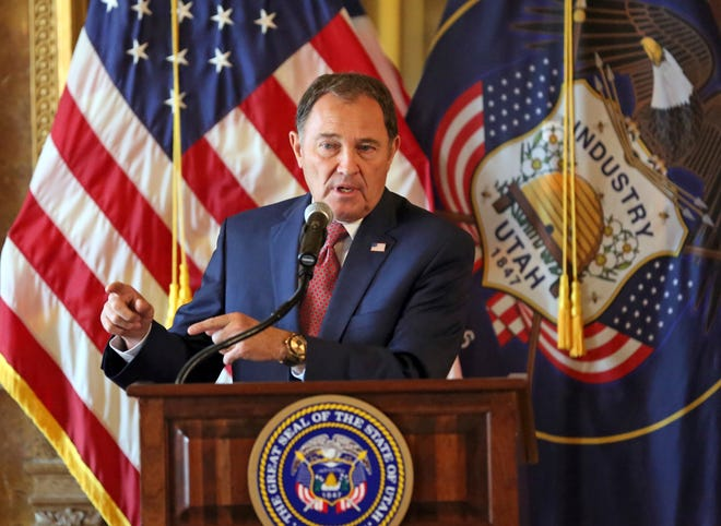 FILE - In this Sept. 12, 2018, file photo, Utah Gov. Gary Herbert speaks during a news conference at the Utah State Capitol, in Salt Lake City. Herbert says people who want to change their gender on public documents should have a process to do it, comments that run counter to a lawmaker's proposal that would block transgender and other people from making changes to birth certificates. Herbert spoke Thursday, Jan. 24, 2019, at his monthly televised news conference on KUED-TV. (AP Photo/Rick Bowmer, File)