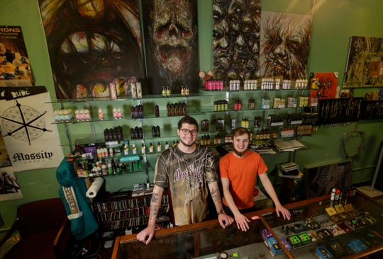 Gaven Moss owns Mossity Vapes and runs the shop with manager Tristan Davidson. The shop is one of several businesses that offer CBD products in the Stevens Point area. Tork Mason/USA TODAY NETWORK-Wisconsin