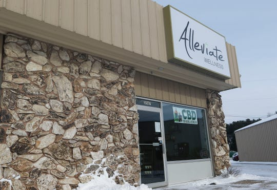 The storefront of Alleviate Wellness, as see on Friday, January 25, 2019, in Stevens Point, Wis. The shop is one of several businesses that offer CBD products in the Stevens Point area.