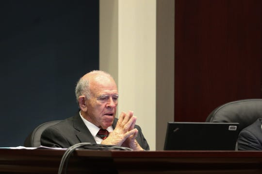 Florida Commission on Ethics Commissioner William Meggs listens as the commission holds a public meeting before holding a probable cause hearing into an ethics complaint previously filed against former Mayor Andrew Gillum Friday, Jan. 25, 2019 at the First District Court of Appeals in Tallahassee.