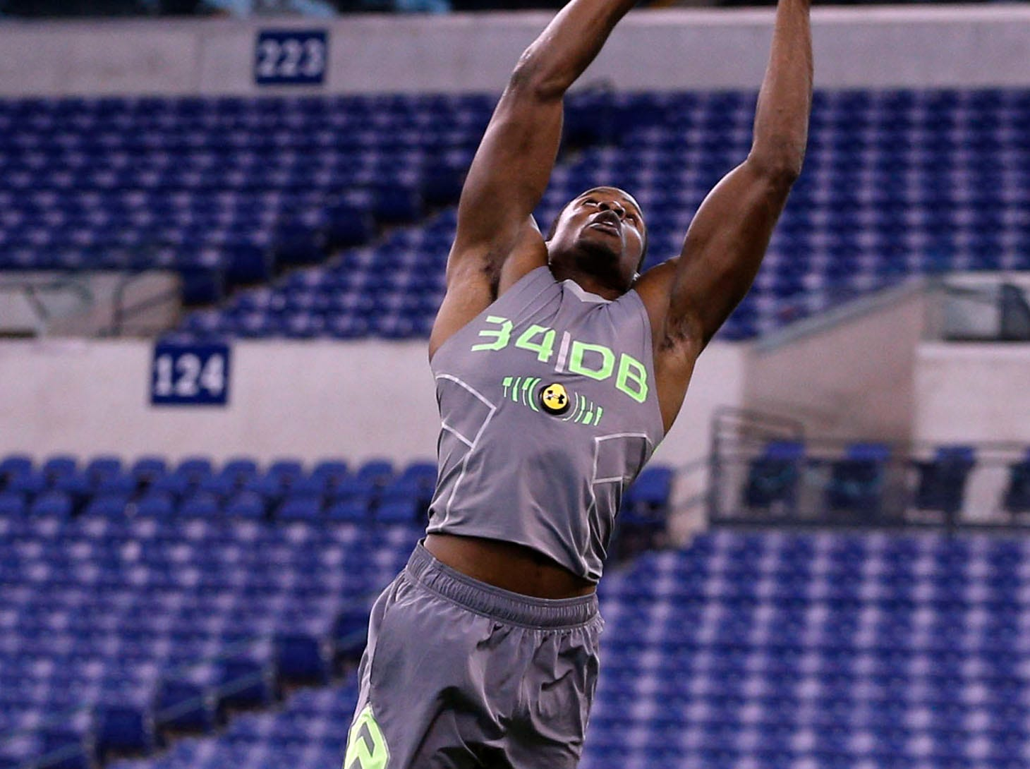 Feb 25, 2014; Indianapolis, IN, USA; Florida State Seminoles defensive back Lamarcus Joyner catches a pass during the 2014 NFL Combine at Lucas Oil Stadium. Mandatory Credit: Brian Spurlock-USA TODAY Sports