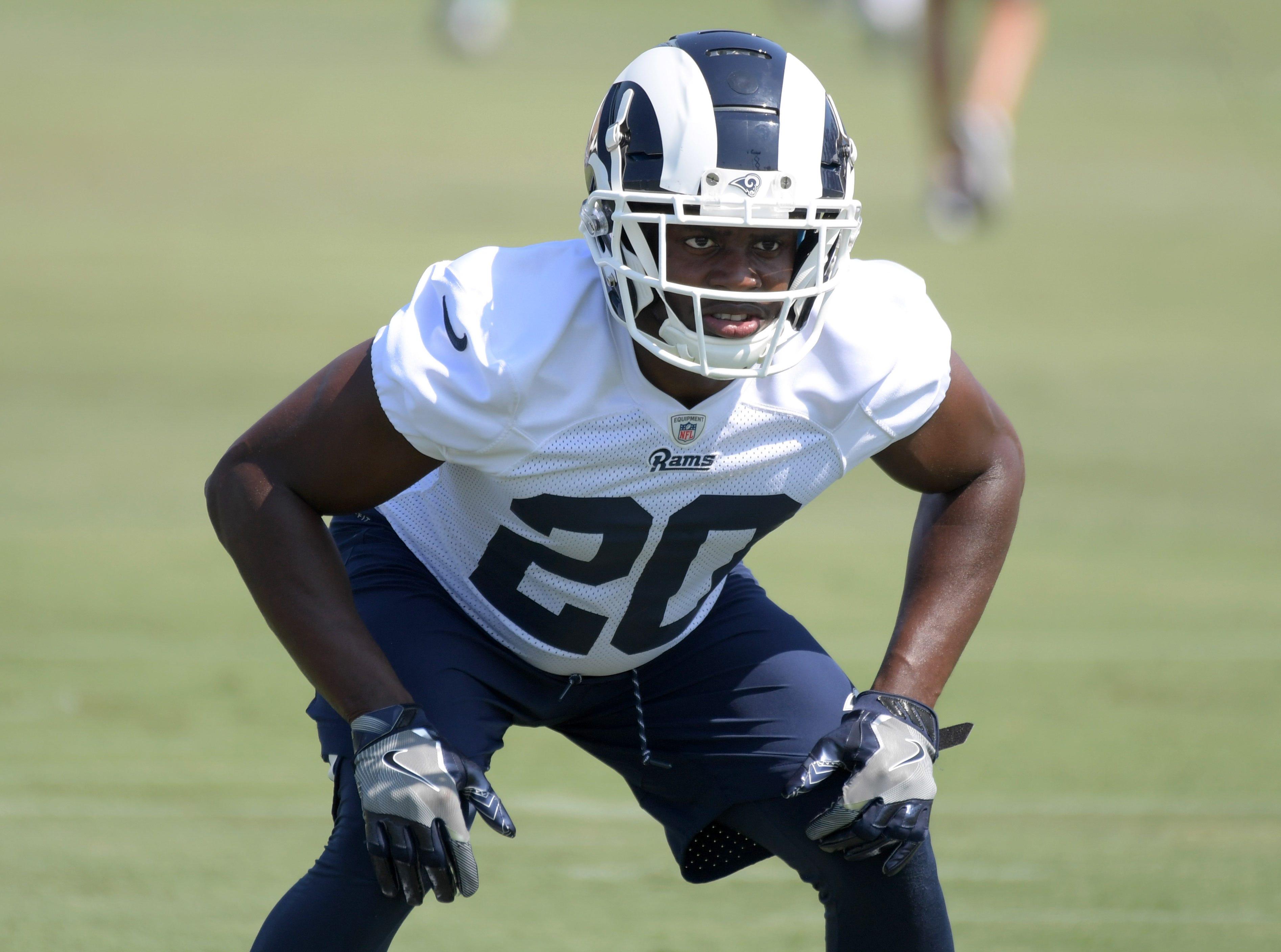Jul 28, 2018; Irvine, CA, USA; Los Angeles Rams safety Lamarcus Joyner (20) during training camp at UC Irvine. Mandatory Credit: Kirby Lee-USA TODAY Sports
