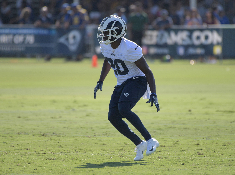 Jul 27, 2018; Irvine, CA, USA; Los Angeles Rams safety Lamarcus Joyner (20) during training camp at UC Irvine. Mandatory Credit: Kirby Lee-USA TODAY Sports