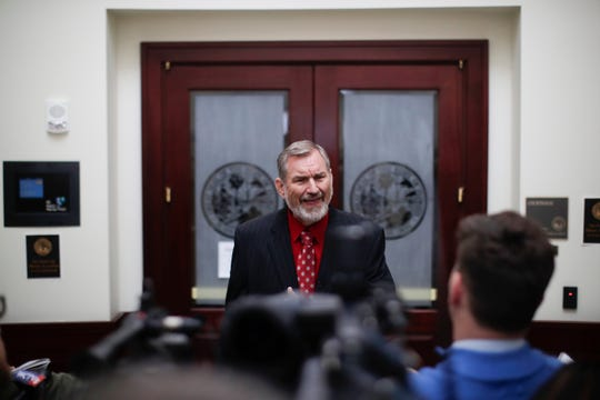 Erwin Jackson, who filed an ethics complaint against former Mayor Andrew Gillum, speaks to the press after a hearing was held by the Florida Commission on Ethics to determine probable cause against Gillum Friday, Jan. 25, 2019 at the First District Court of Appeals in Tallahassee.