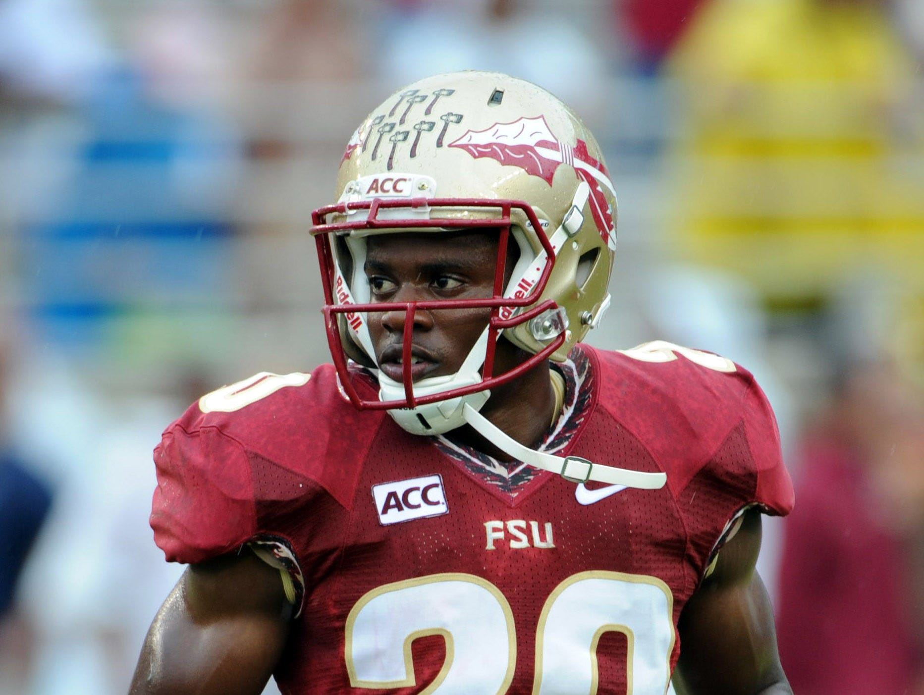 Sep 21, 2013; Tallahassee, FL, USA; Florida State Seminoles defensive back Lamarcus Joyner (20) before the start of the game against the Bethune-Cookman Wildcats at Doak Campbell Stadium. Mandatory Credit: Melina Vastola-USA TODAY Sports