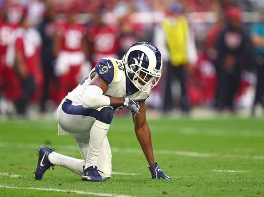 Dec 23, 2018; Glendale, AZ, USA; Los Angeles Rams safety Lamarcus Joyner (20) against the Arizona Cardinals at State Farm Stadium. Mandatory Credit: Mark J. Rebilas-USA TODAY Sports