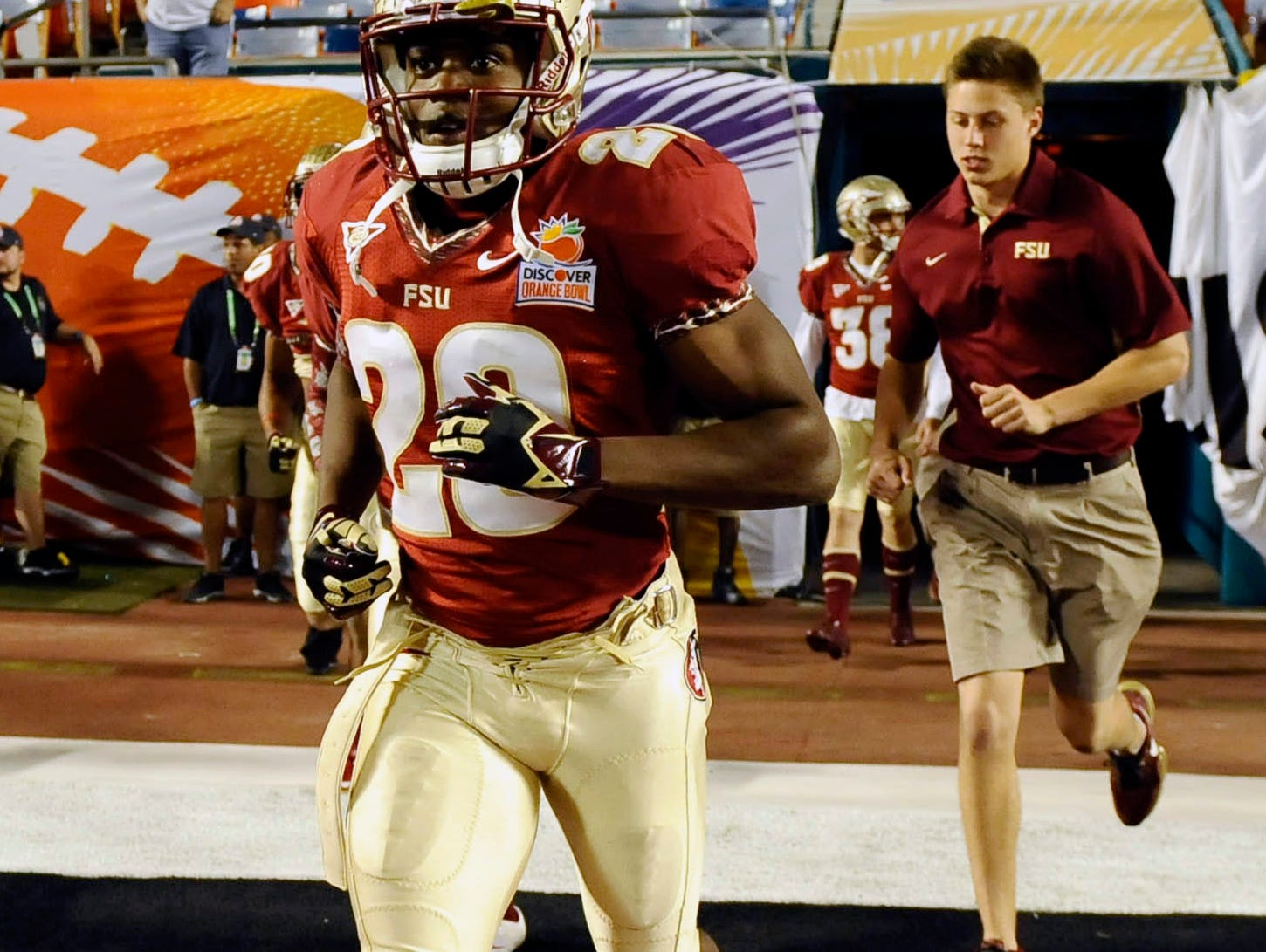 Jan 1, 2013; Miami Gardens, FL, USA; Florida State Seminoles defensive back Lamarcus Joyner (20) takes to the field for warm ups before the start of the game against the Northern Illinois Huskies at the 2013 Orange Bowl at Sun Life Stadium. Mandatory Credit: Ron Chenoy-USA TODAY Sports