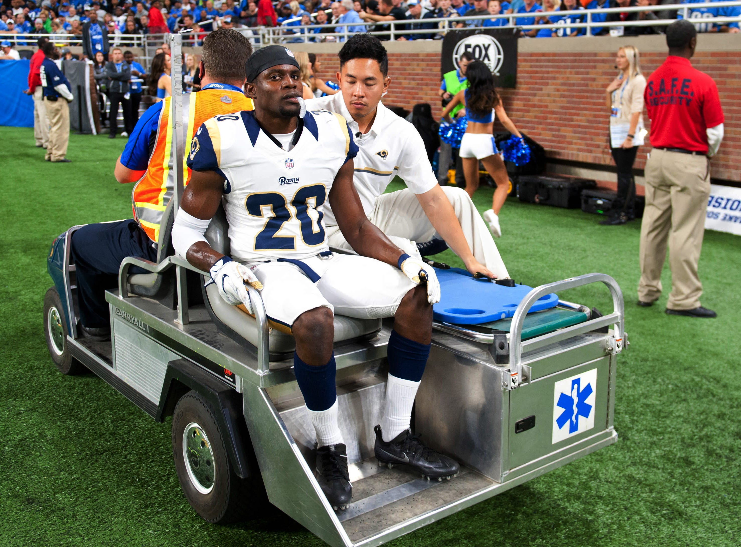 Oct 16, 2016; Detroit, MI, USA; Los Angeles Rams cornerback Lamarcus Joyner (20) is carted off the field during the game against the Detroit Lions at Ford Field. Detroit won 31-28. Mandatory Credit: Tim Fuller-USA TODAY Sports