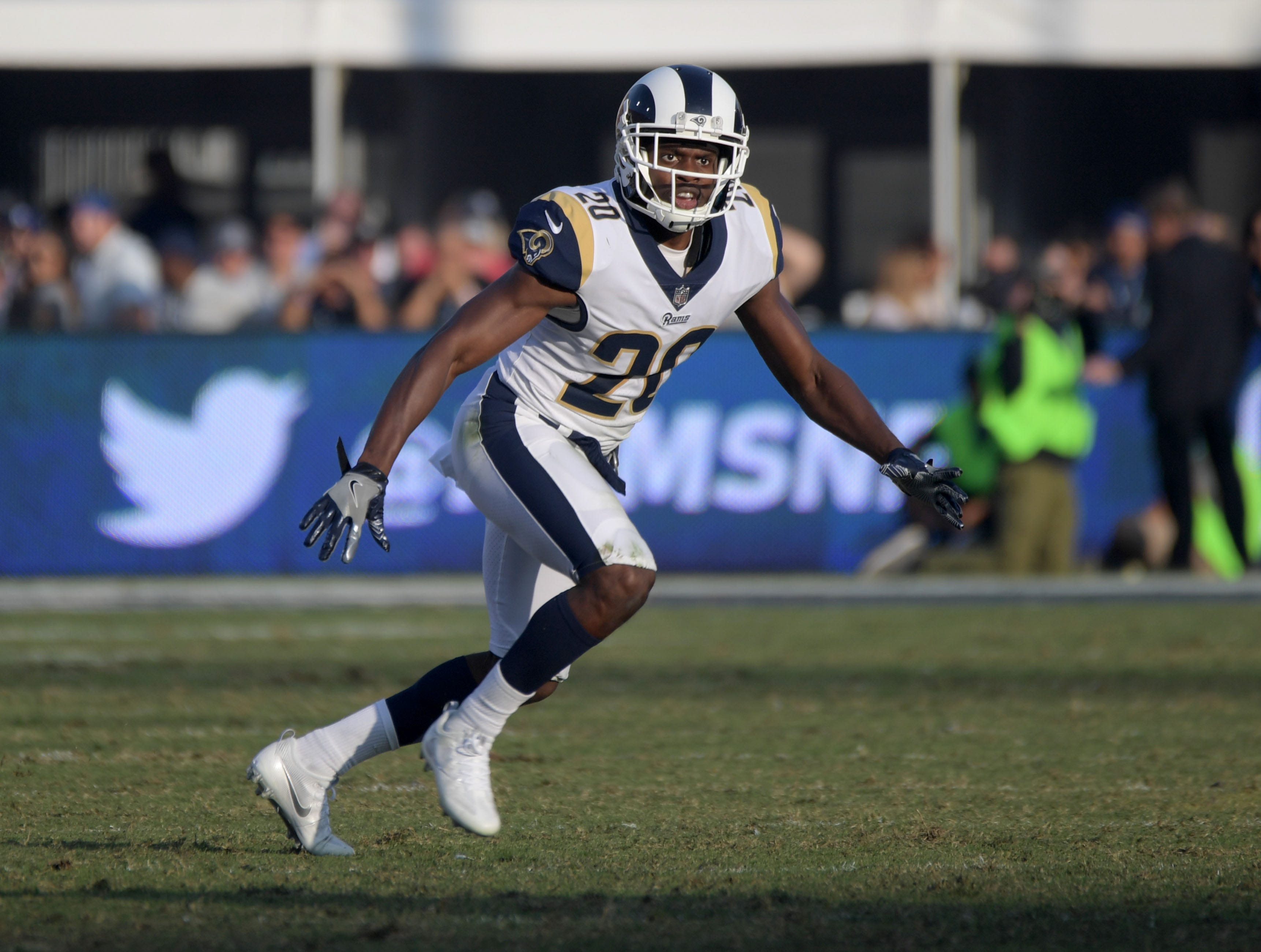 Nov 26, 2017; Los Angeles, CA, USA; Los Angeles Rams free safety Lamarcus Joyner (20) during an NFL football game against the New Orleans Saints at Los Angeles Memorial Coliseum. The Rams defeated the Saints 26-20. Mandatory Credit: Kirby Lee-USA TODAY Sports