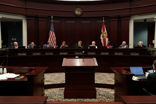 The Florida Commission on Ethics holds a public meeting before holding a probable cause hearing into an ethics complaint previously filed against former Mayor Andrew Gillum Friday, Jan. 25, 2019 at the First District Court of Appeals in Tallahassee.