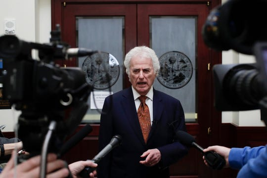 Barry Richard, representing former Mayor Andrew Gillum, speaks to the press after the Florida Commission on Ethics held a probable cause hearing into an ethics complaint previously filed against Gillum Friday, Jan. 25, 2019 at the First District Court of Appeals in Tallahassee.