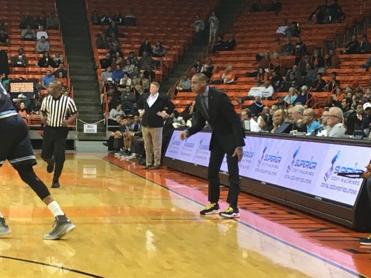 UTEP coach Rodney Terry encourages his team Thursday night at the Don Haskins Center