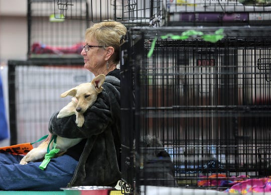 Animal Rescue League of El Paso volunteer and board member Heather Hall cuddles a dog Friday as they await potential adoptions at the El Paso Spring Home Show and Pet Expo Friday. The show continued through Saturday and Sunday.