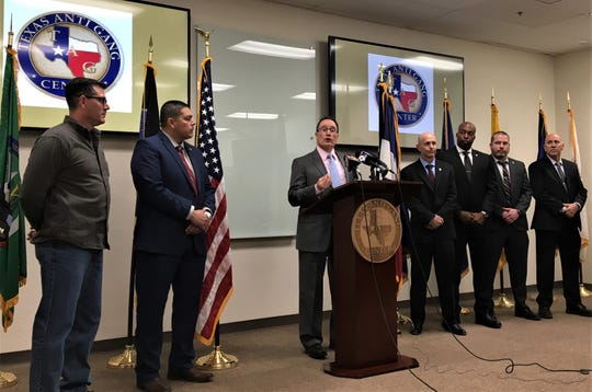 El Paso Police Department spokesman Darrel Petry speaks Thursday, Jan. 24, 2019, at the Texas Anti Gang Center about Operation Kanpol, a drug investigation involving the Sureños street gang.