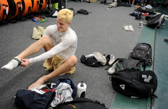 Jacob Hansen gets ready for a team practice at Royal High on Thursday. The senior is ranked eighth in California in the 145-pound division.