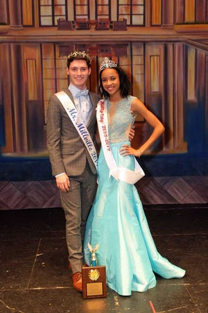 Kyla Kemp, Miss Holly City 2018-2019, and Kyle Crawford, the newly crowned Mr. Millville 2019, pose together following this year's Mr. Millville competition.