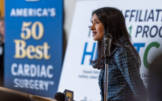 Dr. Suma Thomas speaks about Cleveland Clinic Heart & Vascular Institute's new affiliation with Kaweah Delta Medical Center on Friday, January 25, 2019. Thomas is the Vice-Chairman of Strategic Operations for the Cleveland Clinic Heart & Vascular Institute.