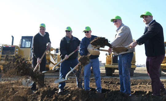 Visalia Mayor Bob Link and city council members break ground on the final phase of construction at Riverway Sports Park on Jan. 23. Set to finish in 2020, the  site will host a premiere softball complex, expanded parking lot and picnic arbor.