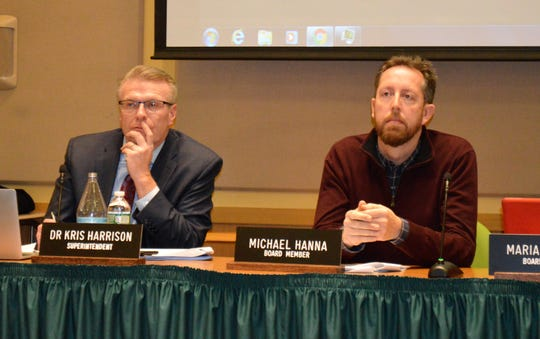 Irvington schools Superintendent Kris Harrison, left, and Board of Education President Michael Hanna on Jan. 25 announced the resignation of Director of Technology Jesse Lubinsky, effective March 25.