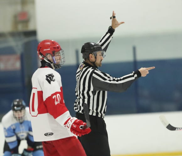Suffern defeats North Rockland 7-0 in varsity ice hockey action at Sport-O-Rama Ice Rink in Monsey on Friday, January 25, 2019.