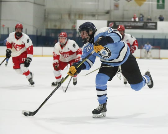 Suffern forward Ryan Schelling (26) scores the first goal of the game against North Rockland during varsity ice hockey action at Sport-O-Rama Ice Rink in Monsey on Friday, January 25, 2019.